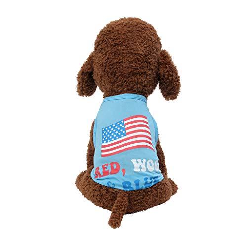 Fenverk Hund Haustier Kleider T-Shirt Kapuzenpullover Stricken Jumper Warm Vlies HüNdchen Mantel Bekleidung Zum Gehen Joggen Wasserdicht(Blau,M)