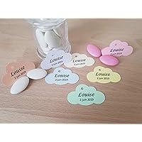 Lot 20 étiquettes papier personnalisées forme nuage papier 7 coloris au choix 4 typographies possibles