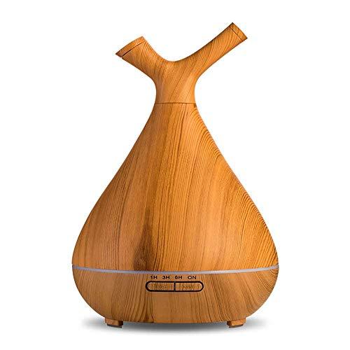 WZB 400 ml USB Cool Mist Luftbefeuchter Ultraschall Aroma Ätherisches Öl Diffusor für Office Home Schlafzimmer Wohnzimmer Studie Yoga Spa - Holzmaserung, Hellgelb