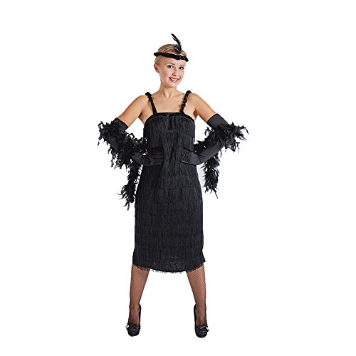 Charm Rainbow Damen Flapper Kleid Mafia Kostüm 20er Schwarze Spaghetti Schwingen Troddel Set inkl. Kleid, Handschuhe, Stirnband
