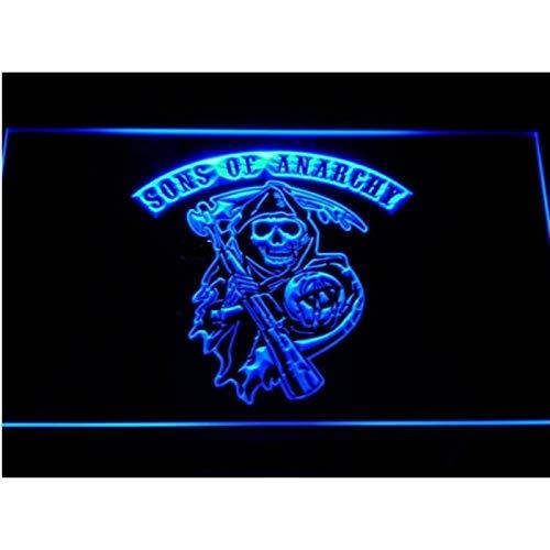 hotrodspirit - verre publicitaire neon sons of anarchy bleu biker motard 30x22 cm