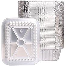 Party Bargains de aluminio Lamina oblunga Pan recipientes y tapas de Board, Capacidad 1Lb,