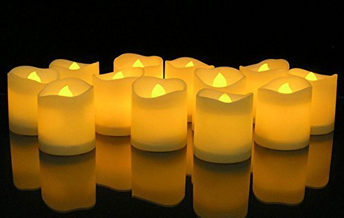 Kobwa set di 12 candele senza fiamma candele tremolanti led batteria operata senza fiamma te' luce per decorazione di natale,festa