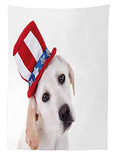 Yeuss 4. Juli Tischdecke Outdoor, süß weiß Hund Ein Uncle Sam Hat Independence Day Celebration, Dekorative Waschbar Picnic Tischdecke, Multicolor, 132,1 x 177,8 cm, 60