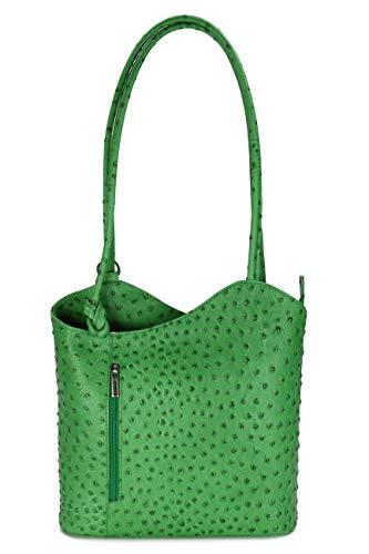 Belli italienische Ledertasche Backpack 2in1 Damen Rucksack Leder Handtasche Schultertasche - Freie Farbwahl - 28x28x8 cm (B x H x T) (Grün strauss 2)