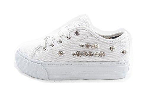 LIU-JO GIRL Scarpe Basse Lacci Jeans Strass Ragazza UM22938A Bianco Taglia: 30