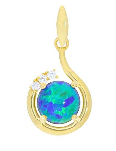 My Gold Opal Anhänger (Ohne Kette) Gelbgold 333 Gold (8 Karat) 20mm x 12mm Zirkonia Halskette Damenkette Opalkette Für Frauen Sala A-07004-G301-OTR-CZC