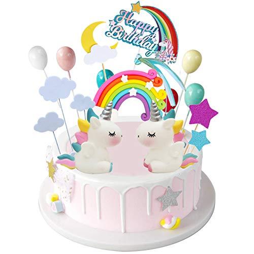 iZoeL Tortendeko Geburtstag Einhorn Kuchen Topper Regenbogen Happy Birthday Topper Wolke Sterne...