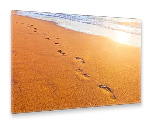 Postereck Leinwand 1448 - Fussspuren im Sand, Strand Meer Wasser Wellen Natur Größe 75,0 cm x 50,0 cm