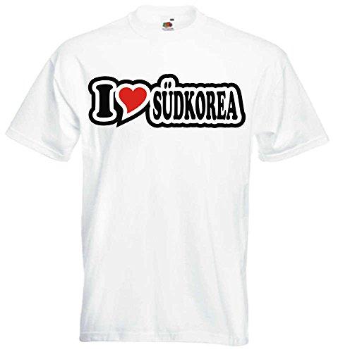 T-Shirt I Love Heart Herren I LOVE S†DKOREA Weiß
