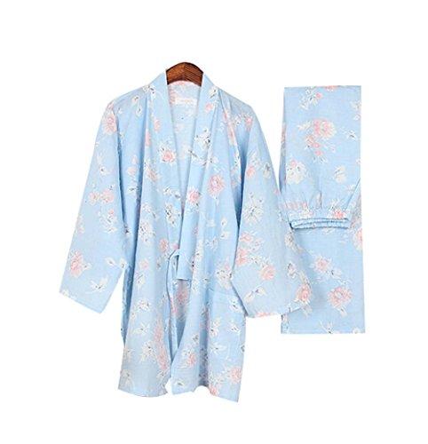 Blumen Baumwolle Pjs (Schöne Blumen Frauen Herbst & Winter Pyjamas Anzug Pyjamas Bademantel Baumwolle dick)