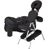 EARTHLITE Vortex Kit portable chaise de massage - Portable, compact, solide et léger (7 kg) incl. étui de rangement portable, coussin et sangle pour le sternum, Noir