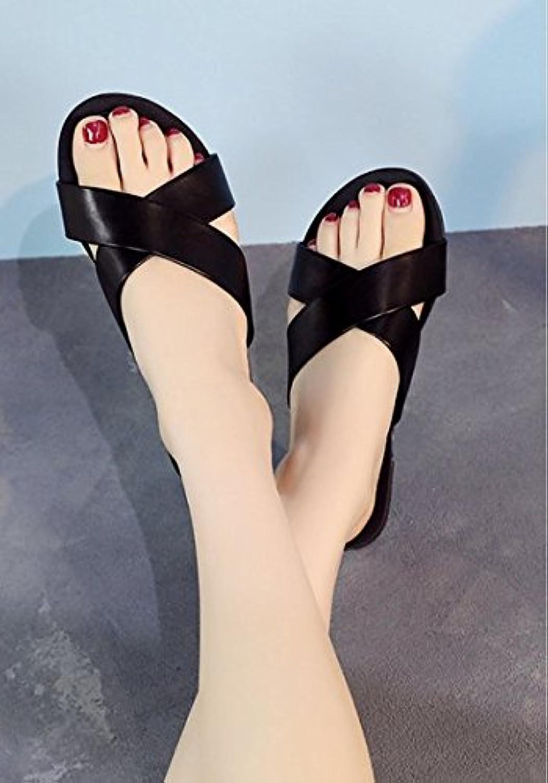 SCLOTHS women's flip flop slippers cross Non-slip Outer wear wear wear Bandages Word trailer flat 4fd2f4