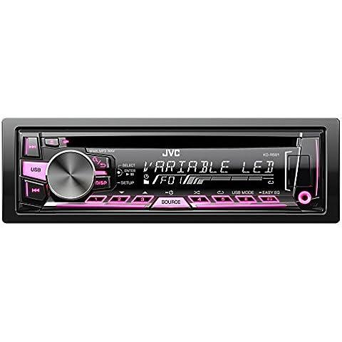 JVC KD-R561E Sintolettore CD MP3 USB AUX Frontale, Nero/Multicolore - Potenza Fet
