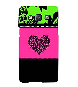 For Samsung Galaxy A3 (2015 Old Edition) :: Samsung Galaxy A3 Duos :: Samsung Galaxy A3 A300F A300FU A300F/DS A300G/DS A300H/DS A300M/DS skull heart ( skull heart, pattern, black background ) Printed Designer Back Case Cover By CHAPLOOS