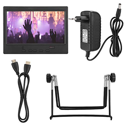 7 Zoll Monitor,Portable LED Monitor 1024x600 HDMI Monitor Multifunktion 16: 9 LCD Display,HDMI LED Gaming Monitor mit Ständer,Unterstützt AV HDMI VGA Fernbedienung EU Stecker(Schwarz)