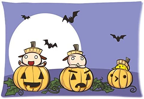 Funny Halloween Pumpkin jack-o'-lantern spirit festival Zippered Pillow Protector 20x30 inch (one side)