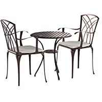 Charles Bentley Furniture 3 Piece Cast Aluminium Bistro Set Table & 2 Arm Chairs - Weatherproof with Timeless Design