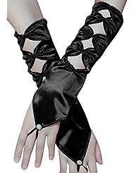 Gants de Mariée Élégant Gants Demoiselle Avec Nœud Papillon Gants Femme Fille Creux Blanc/Noir Gants de Mariage Long Mitaine en Satin Accessoire Déguisement Mariage Spectacle Photographier Soirée