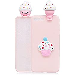 Funda iPhone 7 Plus / 7+ 3D Tridimensional Kawaii Helado Creative Patrón Cover Ultra Delgado TPU Goma Cover Candy Color Puro Suave Flexible Carcasa Silicona Gel Anti-Rasguño Shockproof Anti-arañazos Protectora Espalda Caso Soft Bumper Back Trasera Case con Lindo Cartoon Alivio Muñecas - Rosado