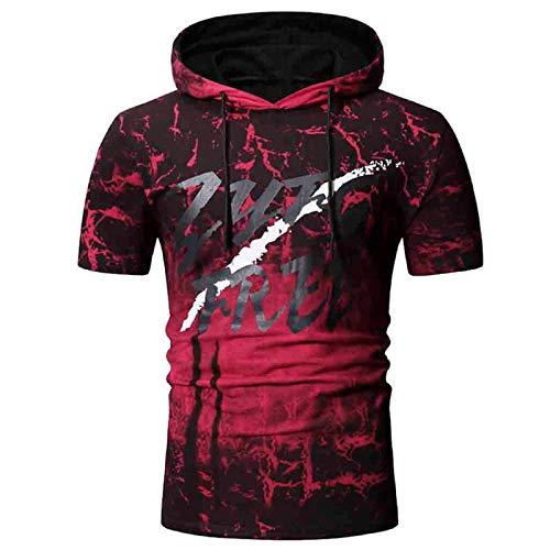Chambray-utility Shirt (Clemunn Men Tops Herren-Sommer-Weste mit Kapuze, 2-teilig, lässig, mit Farbverlauf, kurzärmelig Gr. XXL, rot)