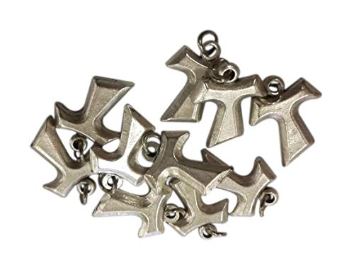 Tau Anhänger - Franziskanisches Kreuz Mini Charms für DIY Hochzeit Gefälligkeiten, Bijouterie, Armbänder und Dekorationen - Versilbertes Metall - h 1,7 cm - 10 Stück