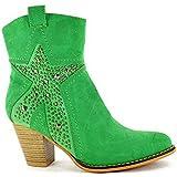Ladies Fabs Cowboy Leather Look Mid Cuban Block Heel Zip Up Star Biker Ankle Chelsea Boots Size 3-8