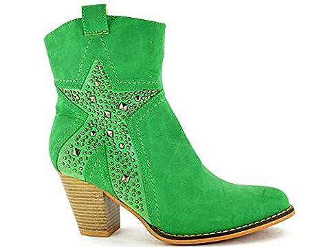 Ladies Fabs Cowboy Leather Look Mid Cuban Block Heel Zip