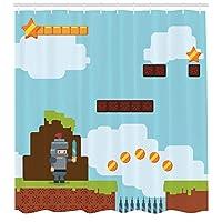 MLNHY Video Games Shower Curtain, Arcade World Kids 90