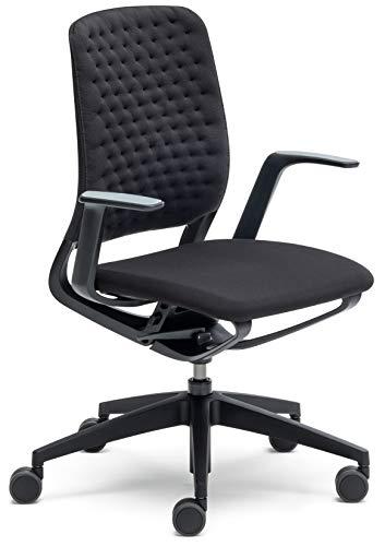 sedus se:Motion Bürostuhl Design Drehstuhl Bürodrehstuhl modern Büro Stuhl Drehsessel (AIR Knit anthrazit/schwarz   mit Polster   mit Armlehnen)