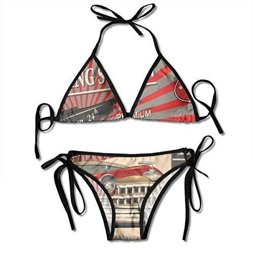 Adjustable Bikini Set Halter Ladies Swimming Costume, Poster Style Image of Gasoline Station Commercial Kitschy Element Route 66 Retro Print,Halter Beach Bathing Swimwear