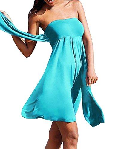 Minetom Donne Estate Costumi Da Bagno Sexy Spiaggia Vestito Avvolto Petto Gonna Con Nastrino Blu