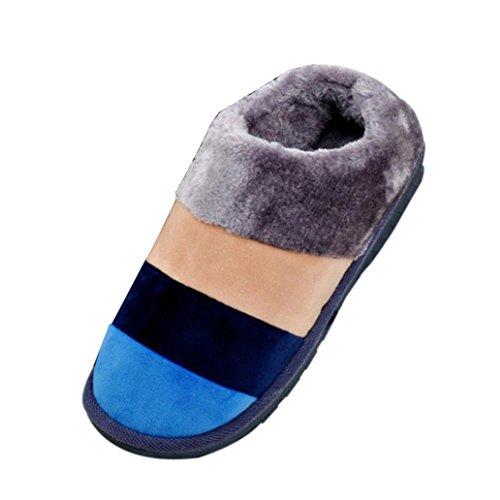 Pantofole Per Coppia,Amlaiworld Unisex Pantofole invernali Stripe Blu