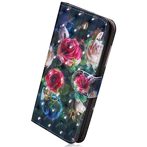 Hülle Kompatibel mit Samsung Galaxy Note 9 Handyhülle Bunt Lustig Muster Leder Hülle Brieftasche Ledertasche Book Case Klapphülle Handytasche Flip Case Cover,Rose Blumen