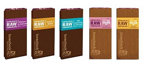 LOVECHOCK Tafeln Set 5x 70g Blaubeere & Hanfsaat, Kakaonibs & Meersalz, Mandeln & Baobab, Mylk Cranberry & Buchweizen, Mylk Mandel & Maulbeere (roh bio vegan) Rohschokolade 5er-Set