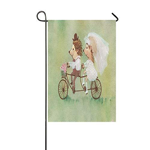 Home Dekorative Outdoor Doppelseitige Malerei Hochzeit Igel Auf Fahrrad Tandem Garten Flagge, haus Hof Flagge, garten Hof Dekorationen, saisonale Willkommen Outdoor Flagge 12 X 18 Zoll Frühling Somme