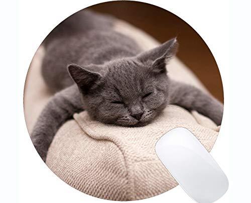 Runde Mausunterlage mit genähtem Rand, niedliche Tierkatze Home Office Computerzubehör Mousepads