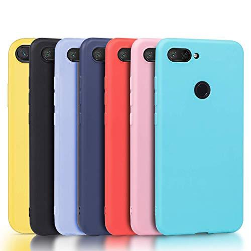 Meeter 7 x Funda para Xiaomi Mi 8 Lite, Ultra Fina Carcasa Silicona TPU de Alta Resistencia y Flexibilidad (Negro+ Rojo+ Azul Oscuro + Rosa + Lavanda + Amarillo + Azul Cielo)