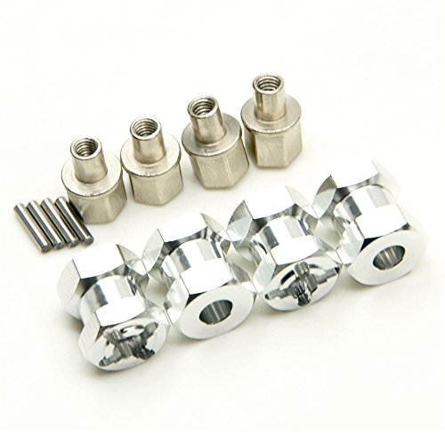 1Set 15mm Offset Hex Adaptor 12mm Hex Wheel for 1/10 RC Crawler SCX10 WRAITH RC4WD (Argento)