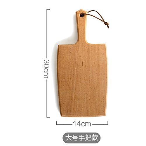 YUWANW Im Japanischen Stil Holzschale Holzschale Rechteckigen Tablett Obstteller Schneidebrett Brot Kuchen Pizzastein West Gericht, Buche Griff Große Zweispurige Fräsabschnitts