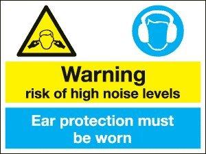 Gebotszeichen–Achtung Risiko von hoher Lärmpegel/Ohr Schutz zu tragen, (1mm dicker Hart Kunststoff/400x 300mm)