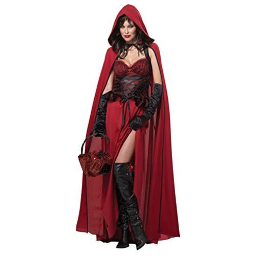 Red Hood Für Erwachsene Kostüm Dark Riding - YHNUJMIK Halloweenkostüm California Costumes Damen Dunkelrotkäppchen Rotkäppchen Prinzessin Kostüm Schlosskönigin Weihnachtskleid Für Erwachsene,L