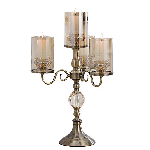 Chandeliers Bougeoir Bougeoir en cristal en métal Cand Style européen Vintage aux chandelles , Salon de salle à manger de table Club Restaurant à chandelles