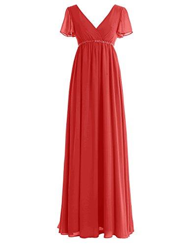 Dressystar Langes Kleid Mikleid Chiffon Damen Brautjungfernkleid Kurarm Abendkleid Einfarbig Rot