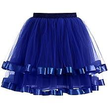 SHOBDW Mujeres plisadas Falda de Gasa de Adultos Falda de Baile Tutú Retro Rockabilly Enaguas Miriñaques Faldas Carnaval