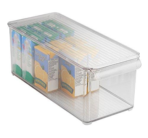 mDesign Aufbewahrungsbox mit Deckel - als Kühlschrankbox, Küchen-Ablage oder in der Waschküche - aus robustem, transparentem Kunststoff - 15,3 cm x 15,3 cm x 36,9 cm - BPA-frei