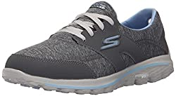 Skechers Performance Womens Go Walk 2 - Backswing Walking Shoe, Gray/Blue, 6 M US