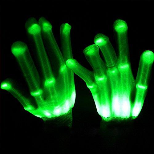 Licht LED Skelett-Handschuhe bis Rave Handschuhe Glow in the Dark LED Handschuhe Halloween-Kostüm Neuheit Weihnachten Geschenk, Kinder, grün (Light Up Rave Handschuhe)