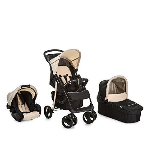 Hauck Shopper SLX Trio Set - Coche de bebes 3 piezas de capazo, sillita y Grupo 0+ para recién nacidos hasta bebes/niños de 15 kg, cesta grande para la compra, botellero, plegable, negro y beige