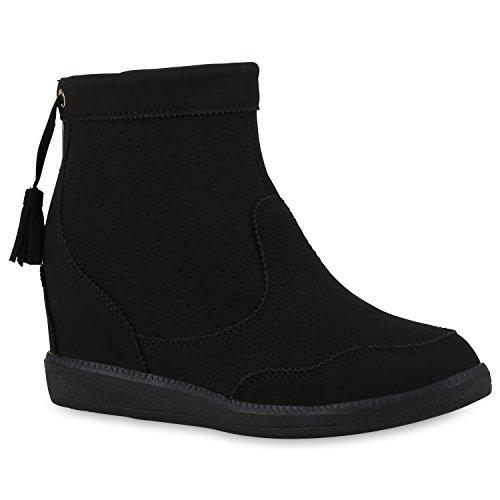 Damen Stiefeletten Keilabsatz Boots Quasten Keilstiefeletten Schwarz